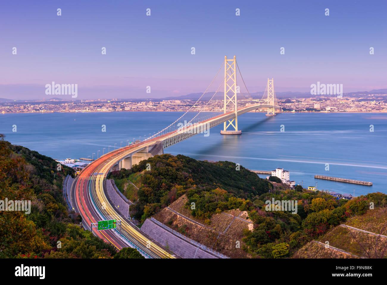 Akashi Kaikyo Bridge spanning the Seto Inland Sea from Kobe, Japan. Stock Photo