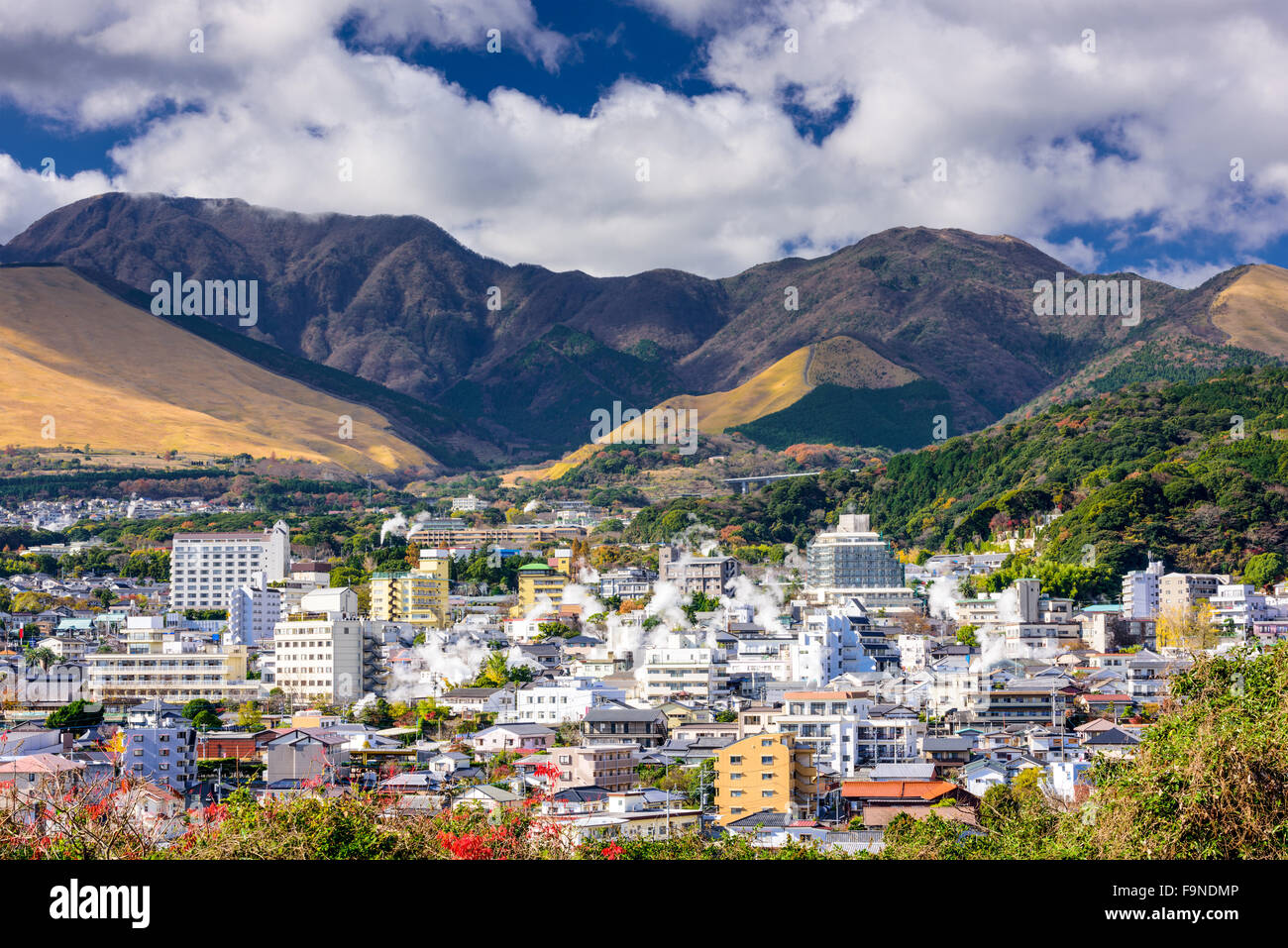 Beppu, Japan cityscape with hot spring bath houses. - Stock Image