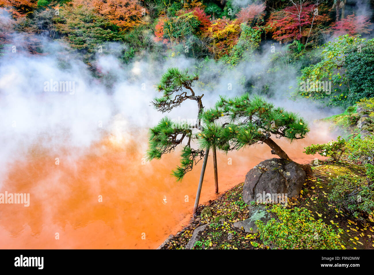 Beppu, Japan at the Blood 'Hell' Hot Spring. - Stock Image