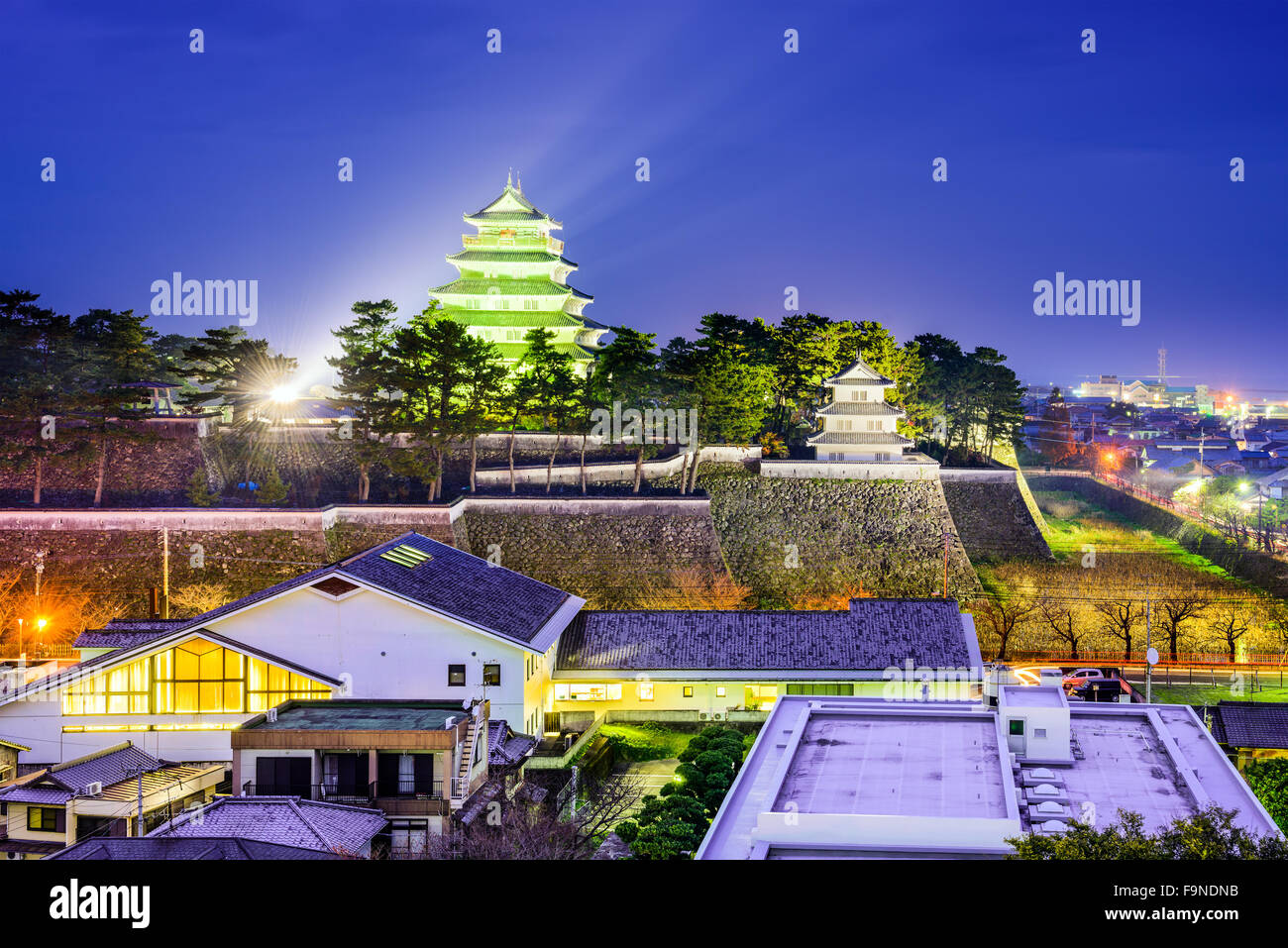 Shimabara, Japan town cityscape at the castle. - Stock Image
