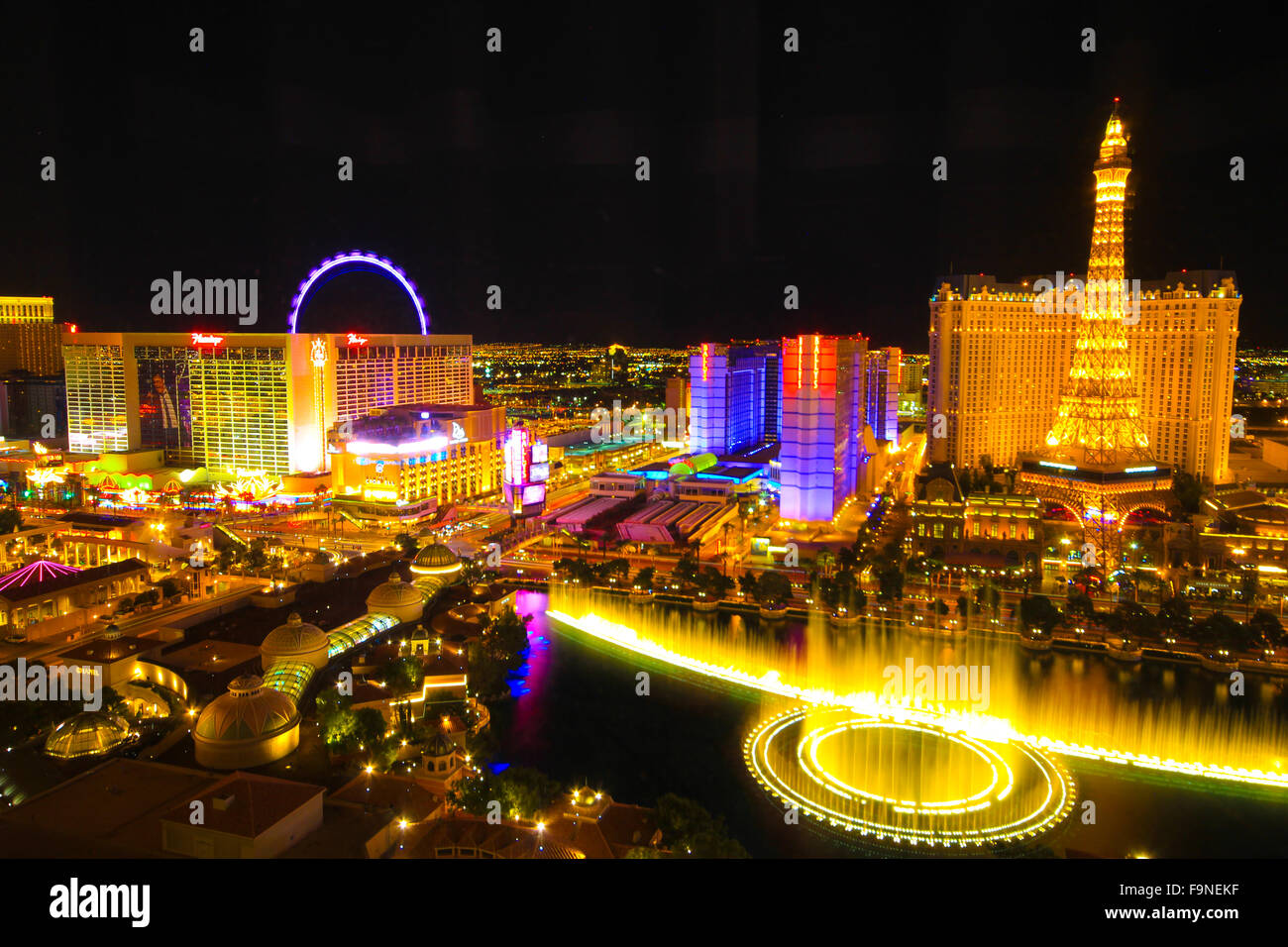 The aerial view of vibrant Las Vegas strip at night - a niche travel attraction of USA Stock Photo