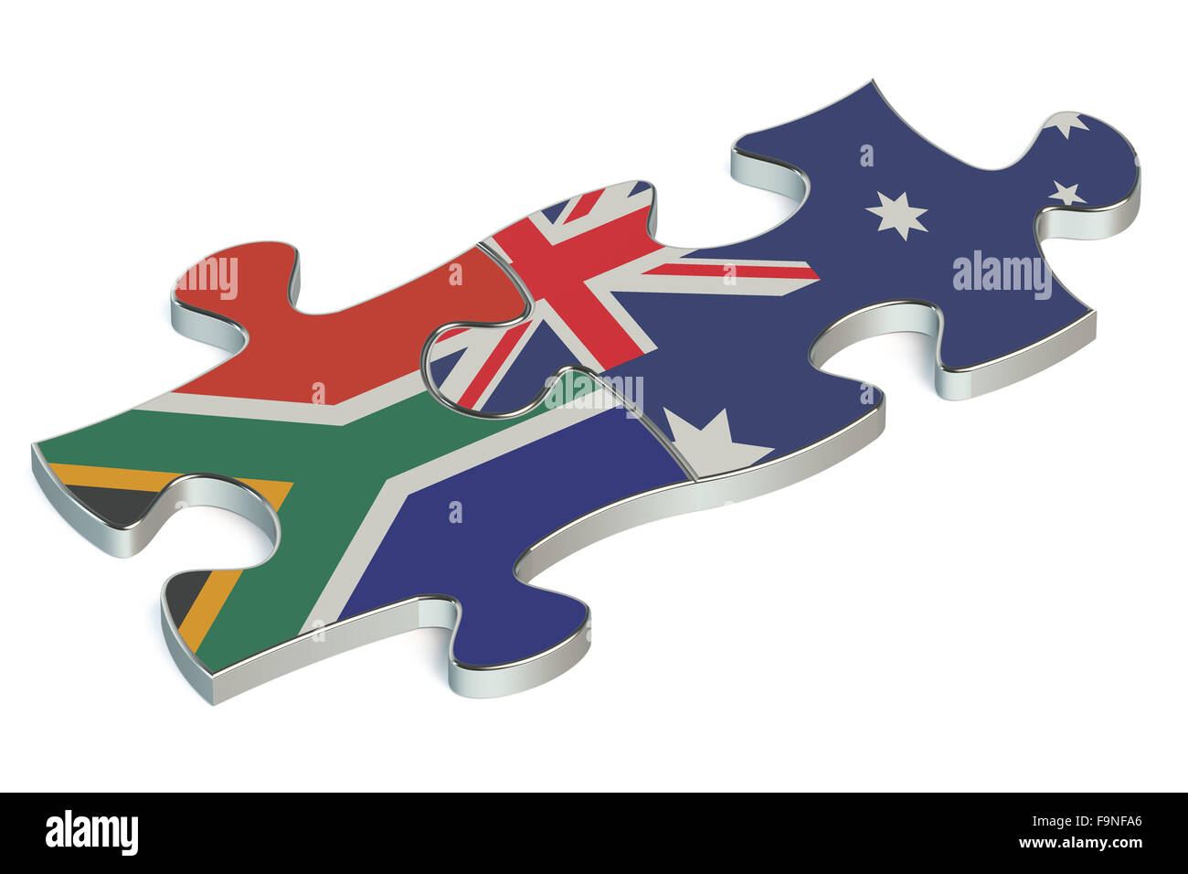 Australia and Republic of South Africa puzzles from flags - Stock Image