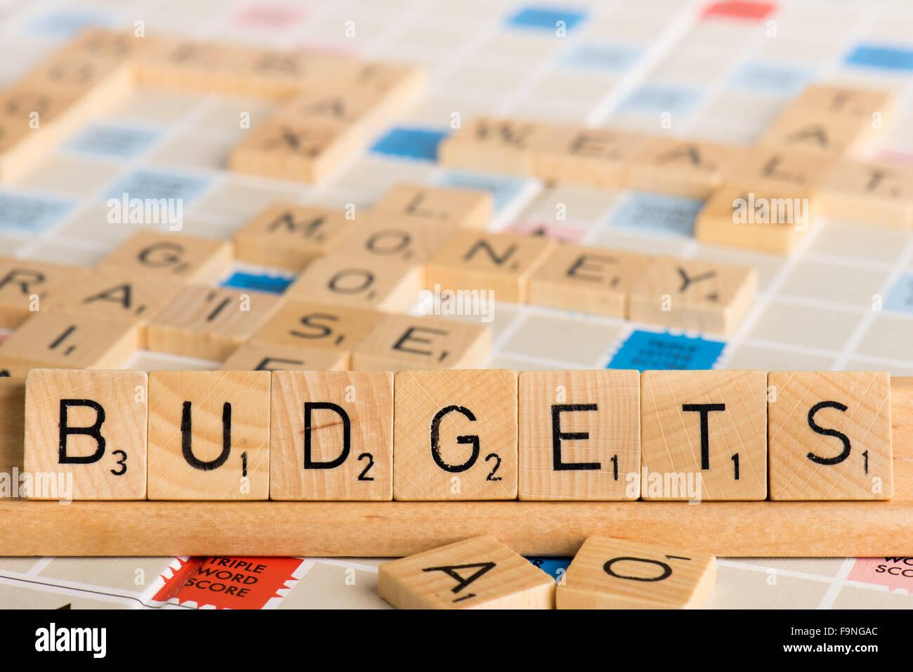 Scrabble - BUDGETS - Stock Image
