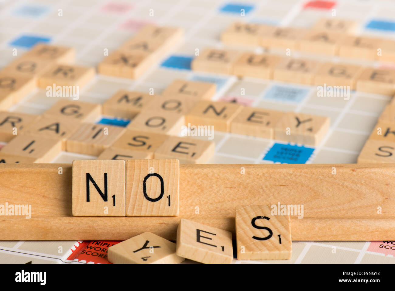 Scrabble - NO YES - Stock Image