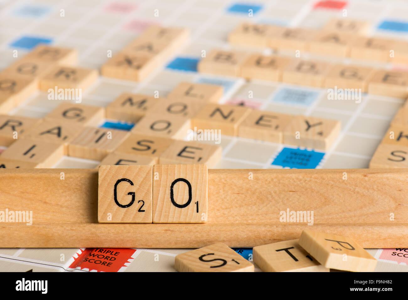 Scrabble - GO - Stock Image