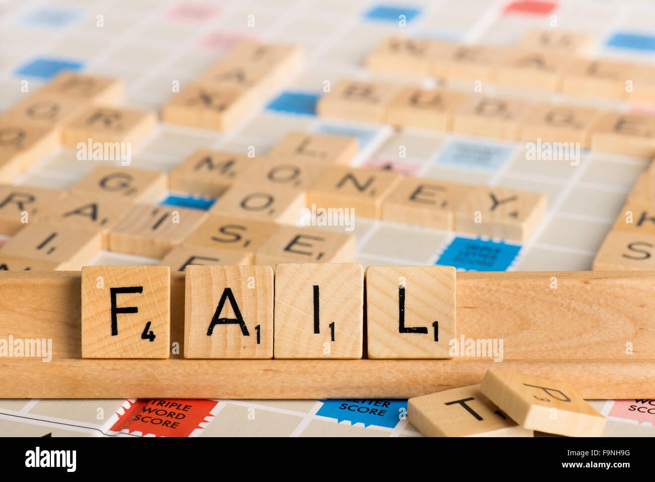 Scrabble - FAIL - Stock Image