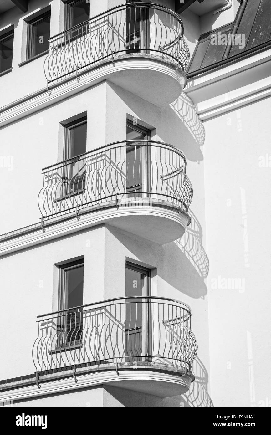 Black And White Balconies Of A New Apartment Real Estate Business Concept