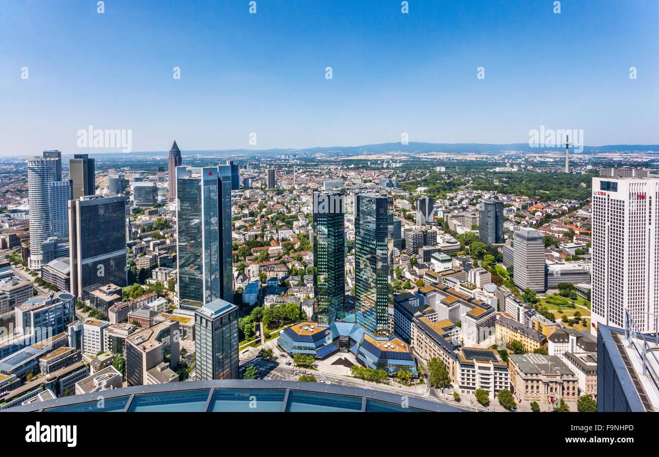 Germany, Hesse, Frankfurt am Main, aerial view of Frankfurt's Bankenviertel highrise - Stock Image