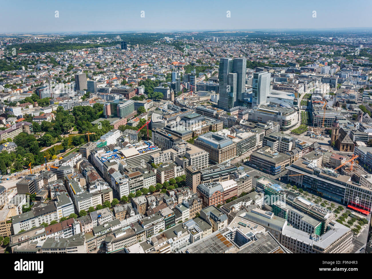 Germany, Hesse, Frankfurt am Main, aerial view of Frankfurt city centre with Goethestrasse, Zeil Galerie and Stock - Stock Image