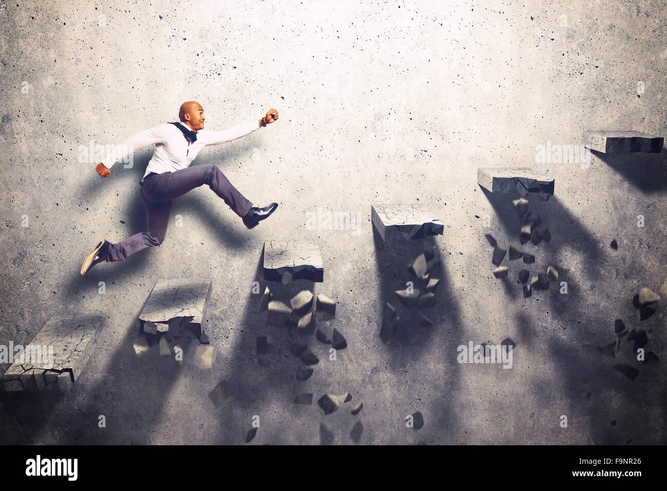 Uncertain climb - Stock Image