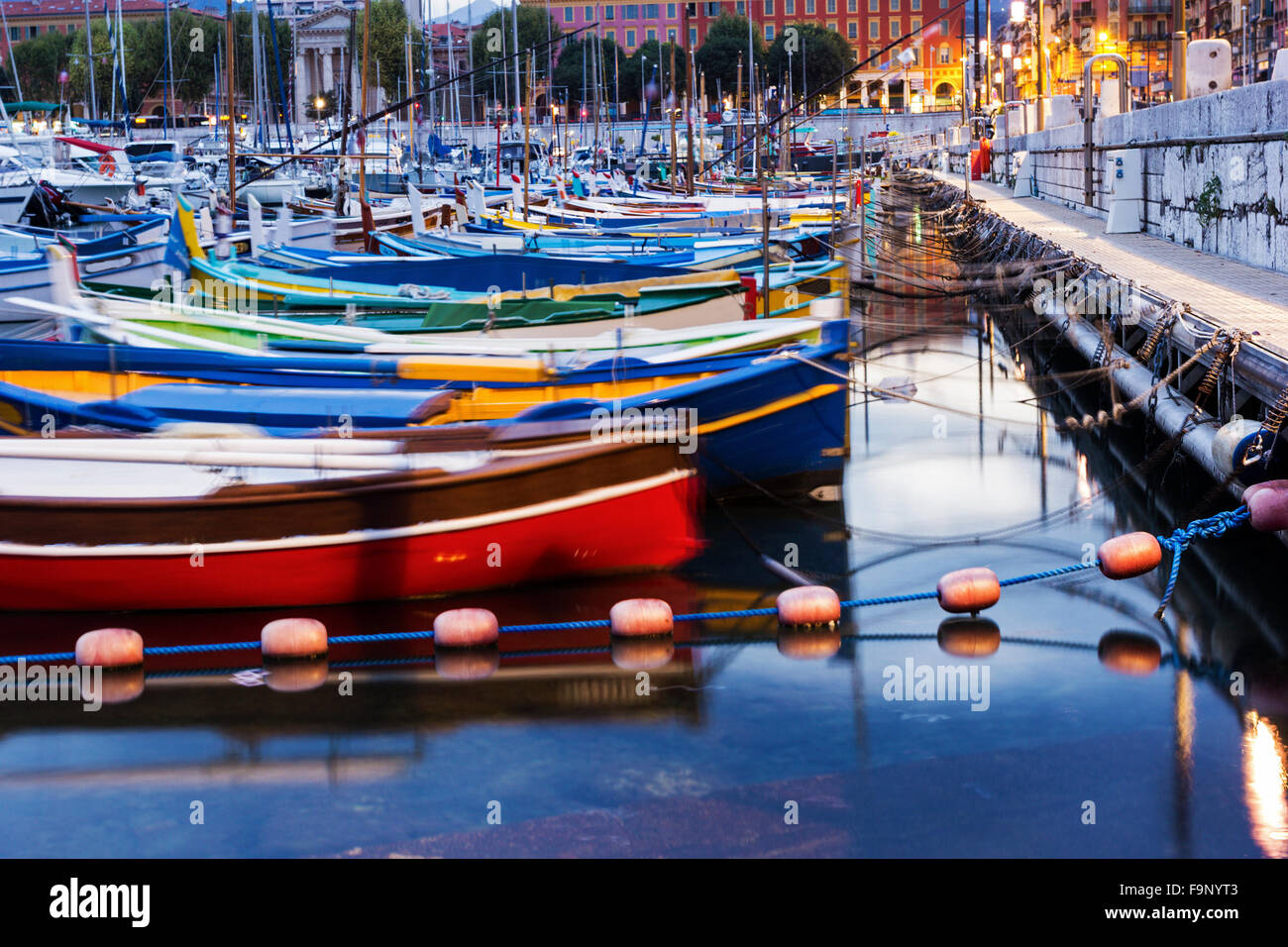 Boats anchored in the Port of Nice in France in the morning - Stock Image