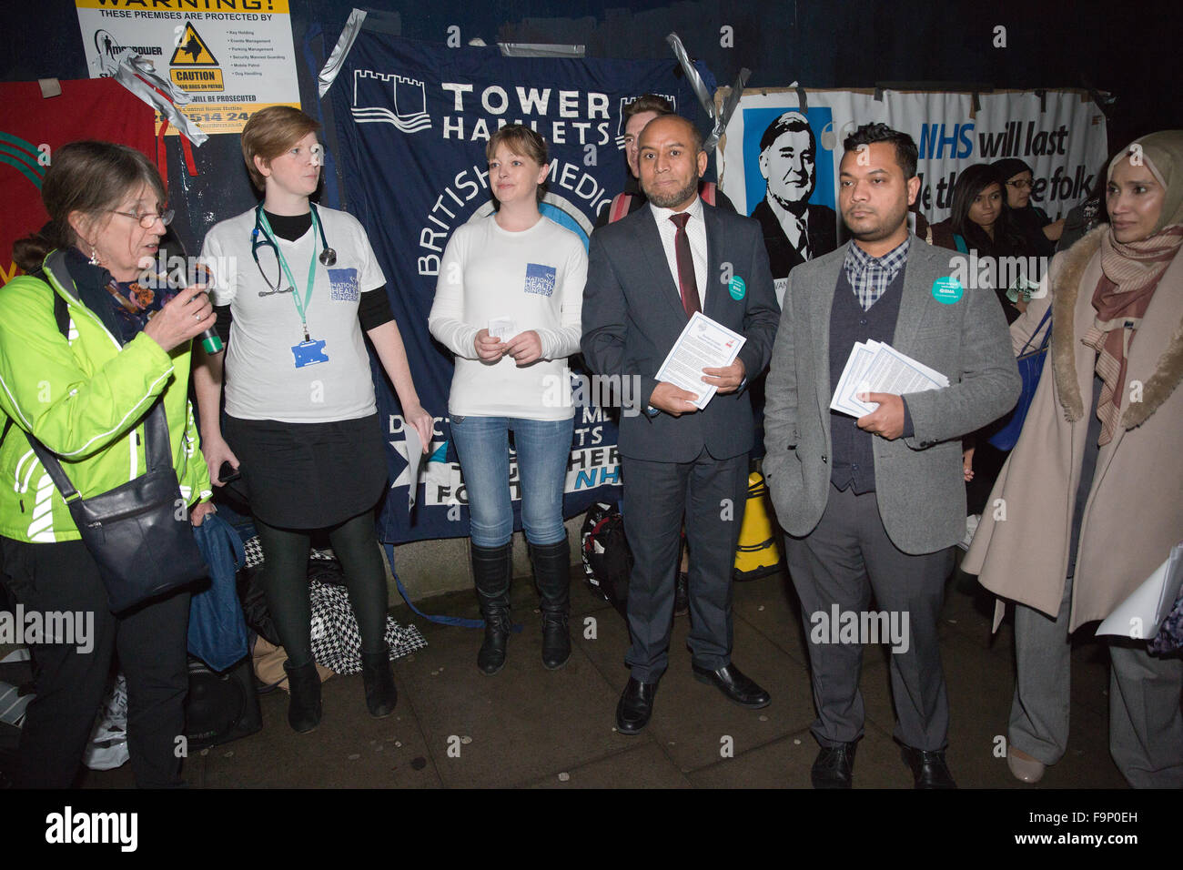 London, UK. 17th December, 2015. Supporters of the junior doctors and student nurses, including Councillors Oliur - Stock Image