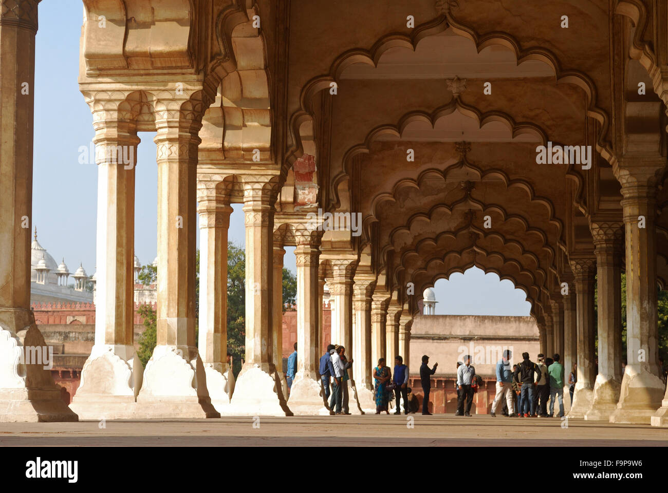 diwan i am , marble building inside agra fort,agra,india.This is a unesco world heritage site. Stock Photo
