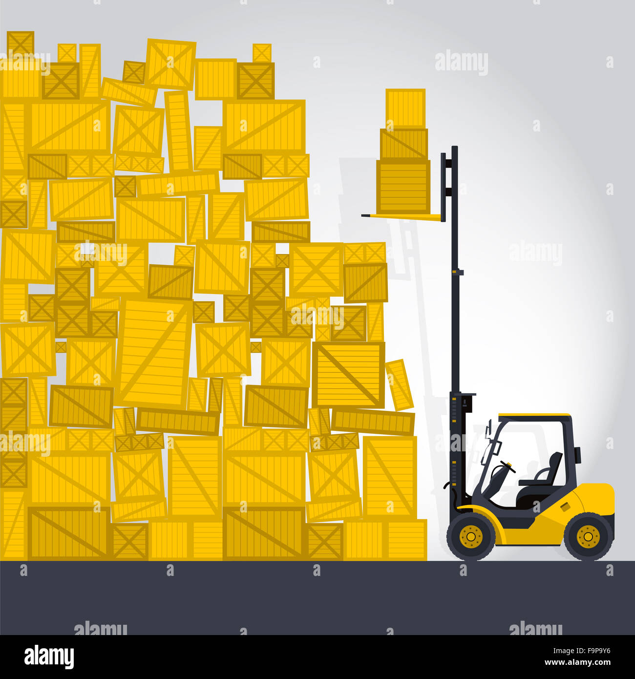 Yellow fork lift loader works in store nice lift loads crate box in warehouse storage flatten illustration master - Stock Image