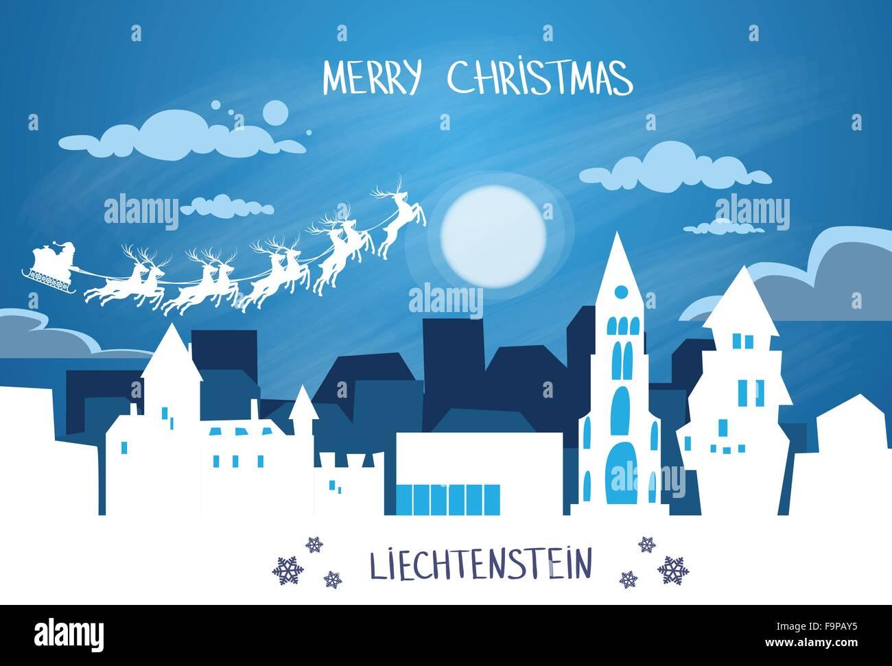 Santa Claus Sleigh Reindeer Fly Sky over Liechtenstein Silhouette Night - Stock Image