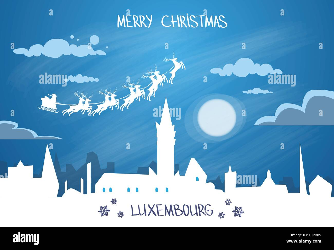 Santa Claus Sleigh Reindeer Fly Sky over Luxembourg City Silhouette Night - Stock Image