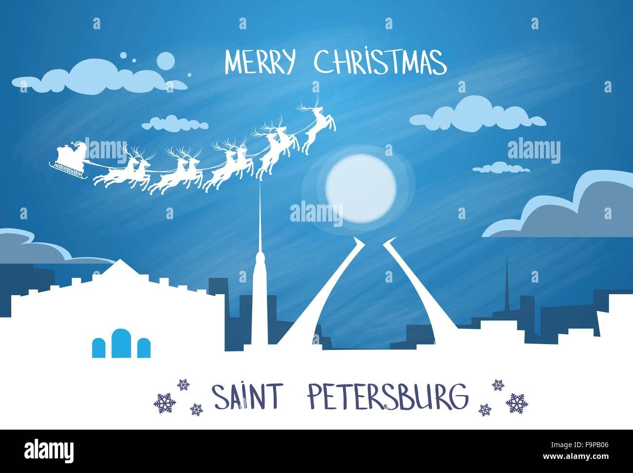Santa Claus Sleigh Reindeer Fly Russian Sky over Saint Petersburg City Silhouette - Stock Image