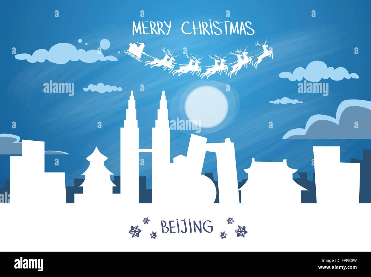 Santa Claus Sleigh Reindeer Fly China Asia Sky over Beijing City Silhouette - Stock Image