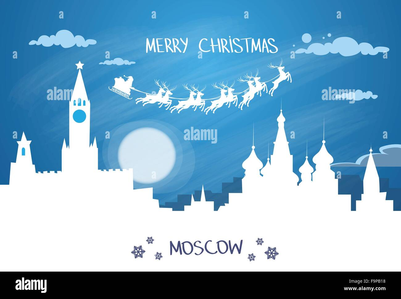 Santa Claus Sleigh Reindeer Fly Russian Sky over Moscow City Silhouette Night - Stock Image