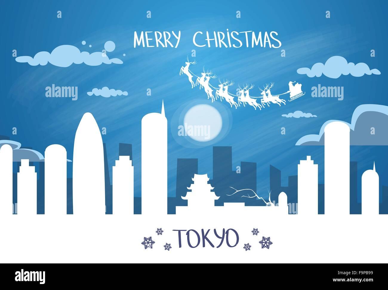 Santa Claus Sleigh Reindeer Fly Japan Sky over Tokyo City Silhouette Night - Stock Image