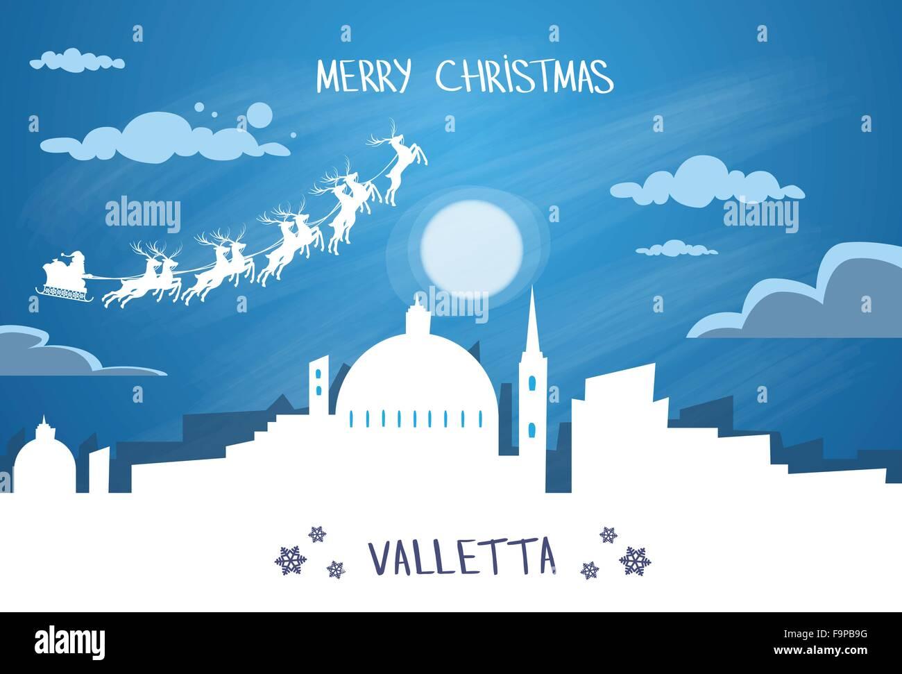 Santa Claus Sleigh Reindeer Fly Malta Sky over Valletta City Silhouette Night - Stock Image