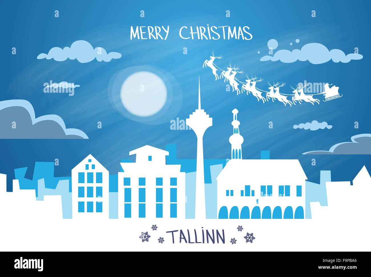 Santa Claus Sleigh Reindeer Fly Estonia Sky over Tallinn City Silhouette Night - Stock Image