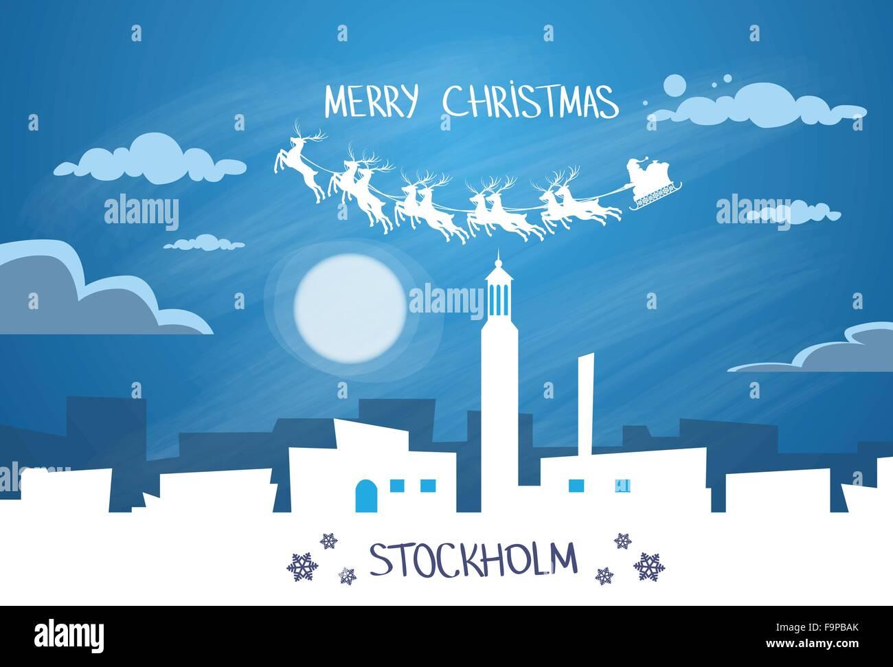 Santa Claus Sleigh Reindeer Fly Sweden Sky over Stockholm City - Stock Image