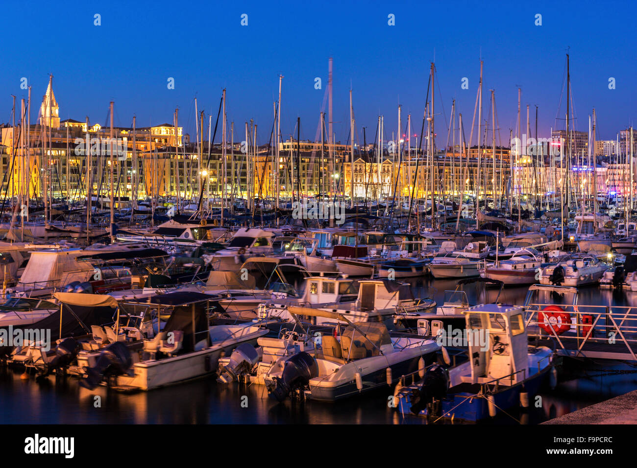 Boats anchored in the harbor in Marseilles in France - Stock Image