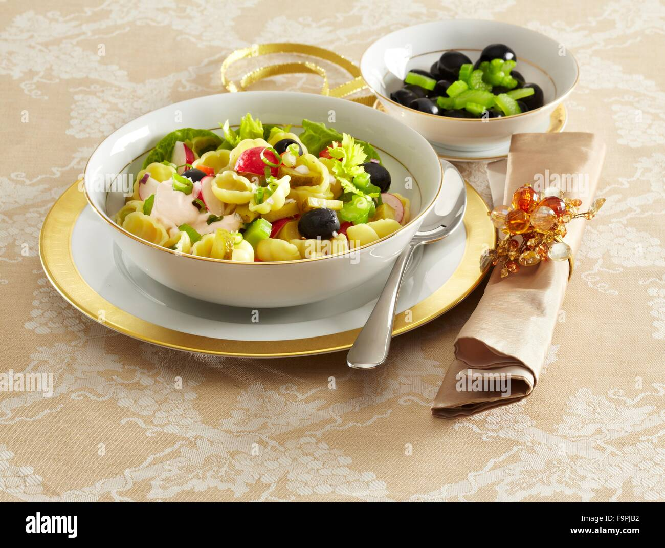 christmas pasta salad stock image