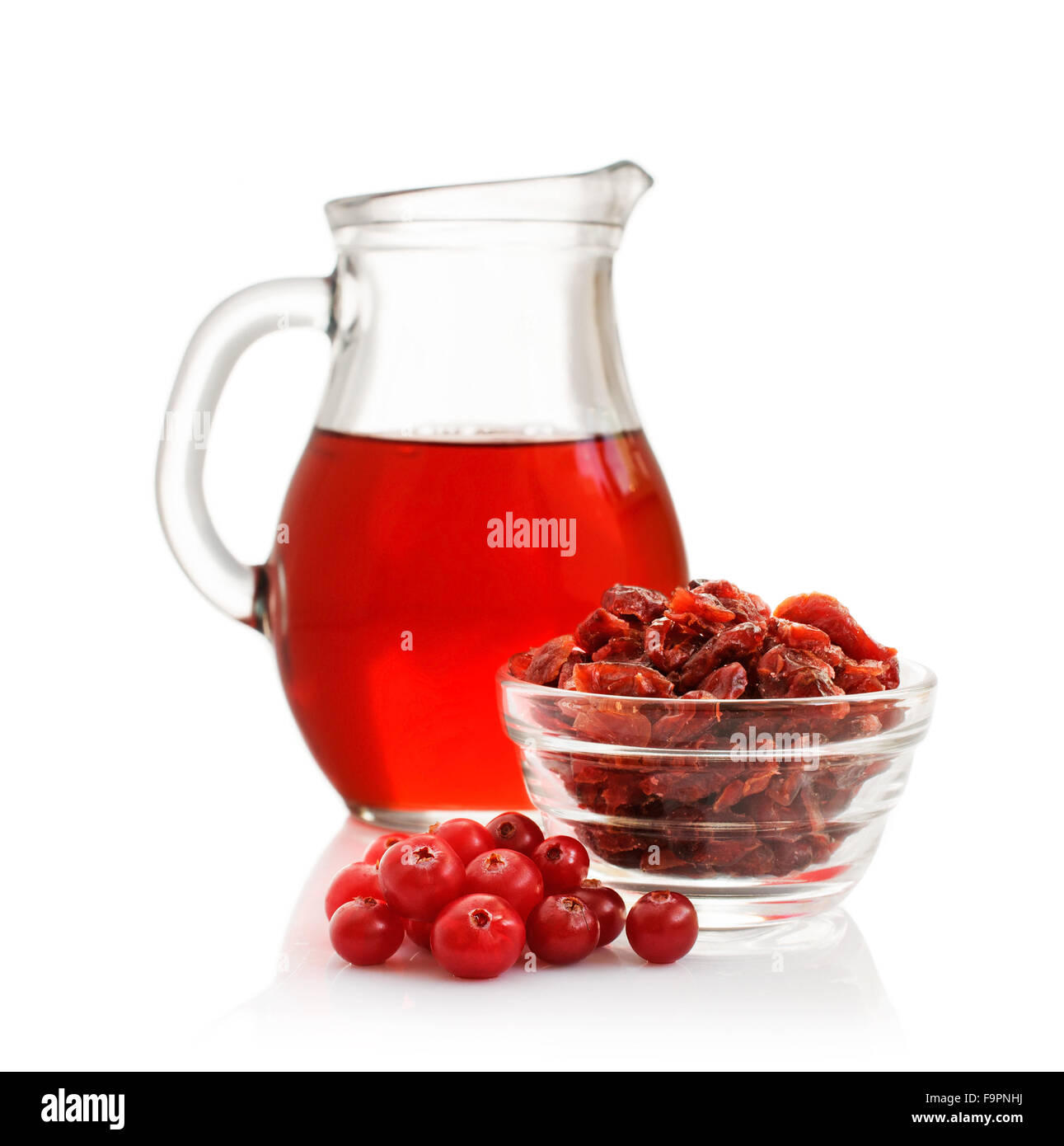 Cranberry juice, fresh berry and dry berry isolated on white Stock Photo