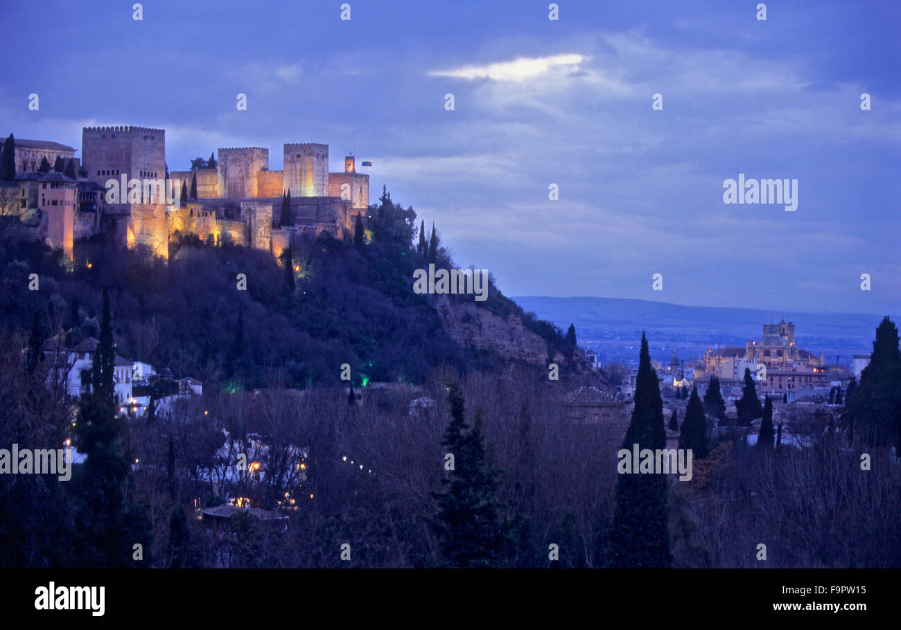Alhambra and cathedral, as seen from Sacromonte troglodyte quarter (Gipsy quarter), Granada, Andalusia, Spain, Europe. - Stock Image