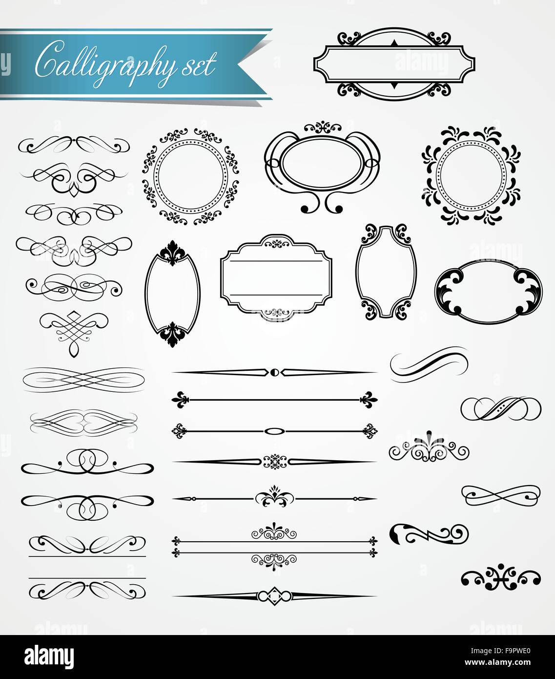 Vector calligraphy and vintage frames collection - Stock Image