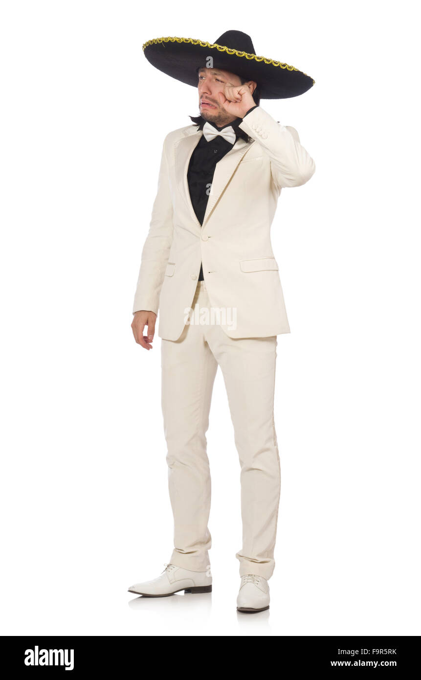 Funny mexican in suit and sombrero isolated on white - Stock Image