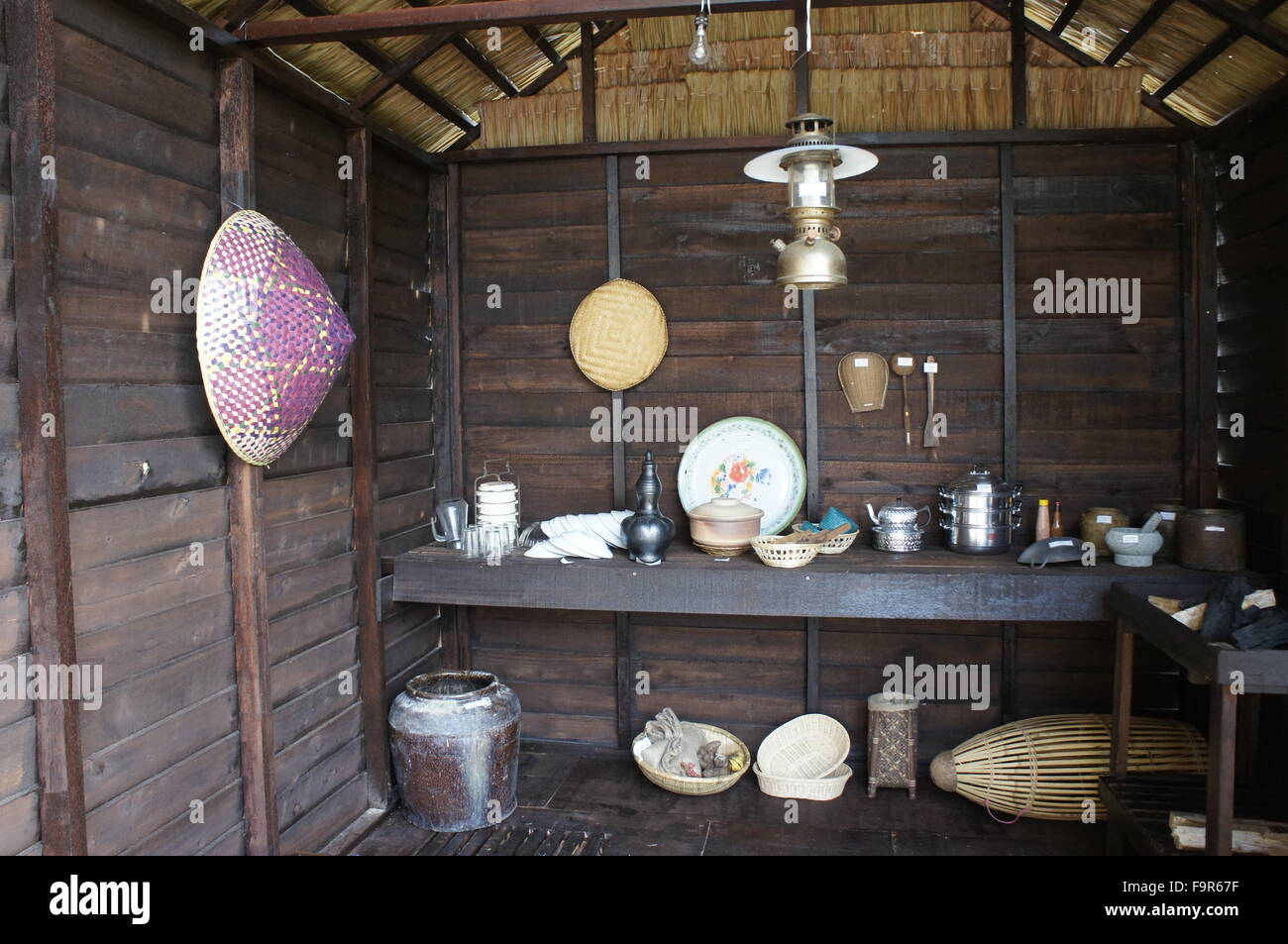 traditional Malay household kitchen utensils - Stock Image