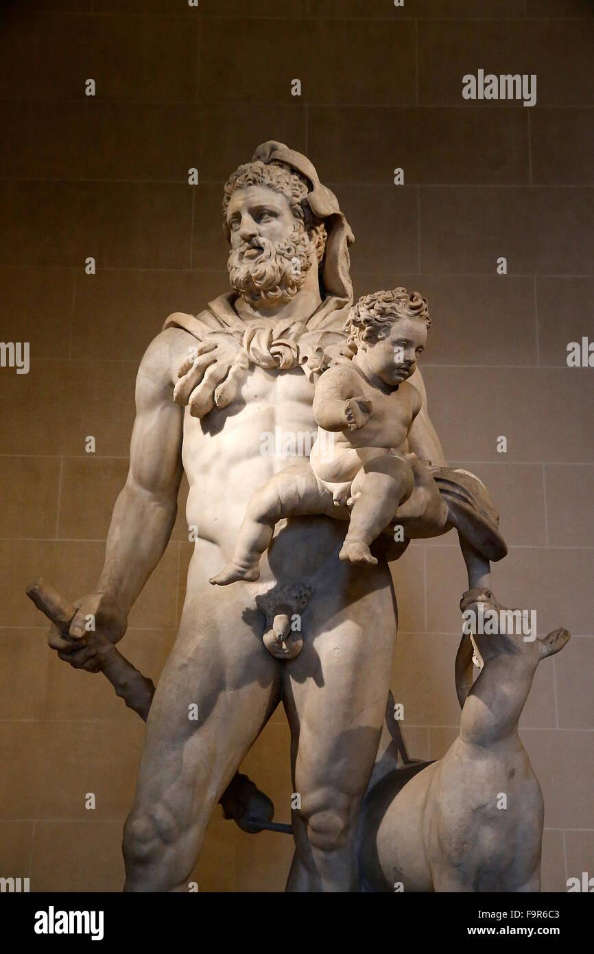 Louvre Museum. Paris. Heracles and Telephos. Second century AD. Tivoli (Italia). Marble. - Stock Image