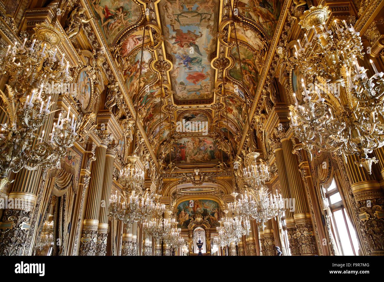 Palais Garnier. Paris Opera. Celling of the Grand Foyer. - Stock Image