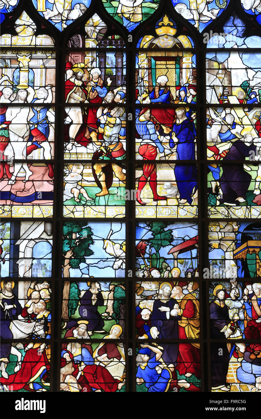 Stained glass window. Passion. - Stock Image
