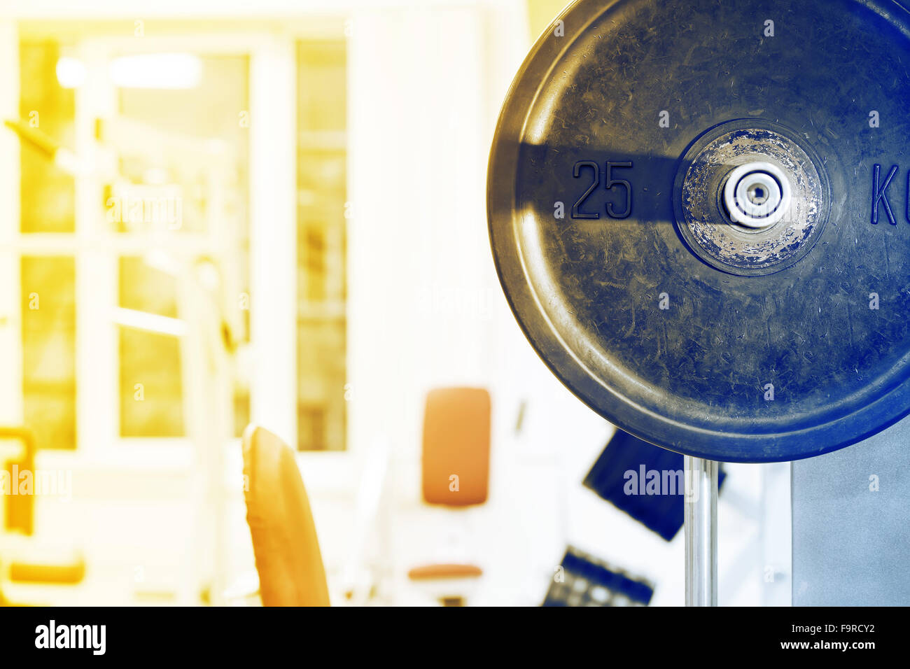 Fragment drive barbell against the background of gym Stock Photo