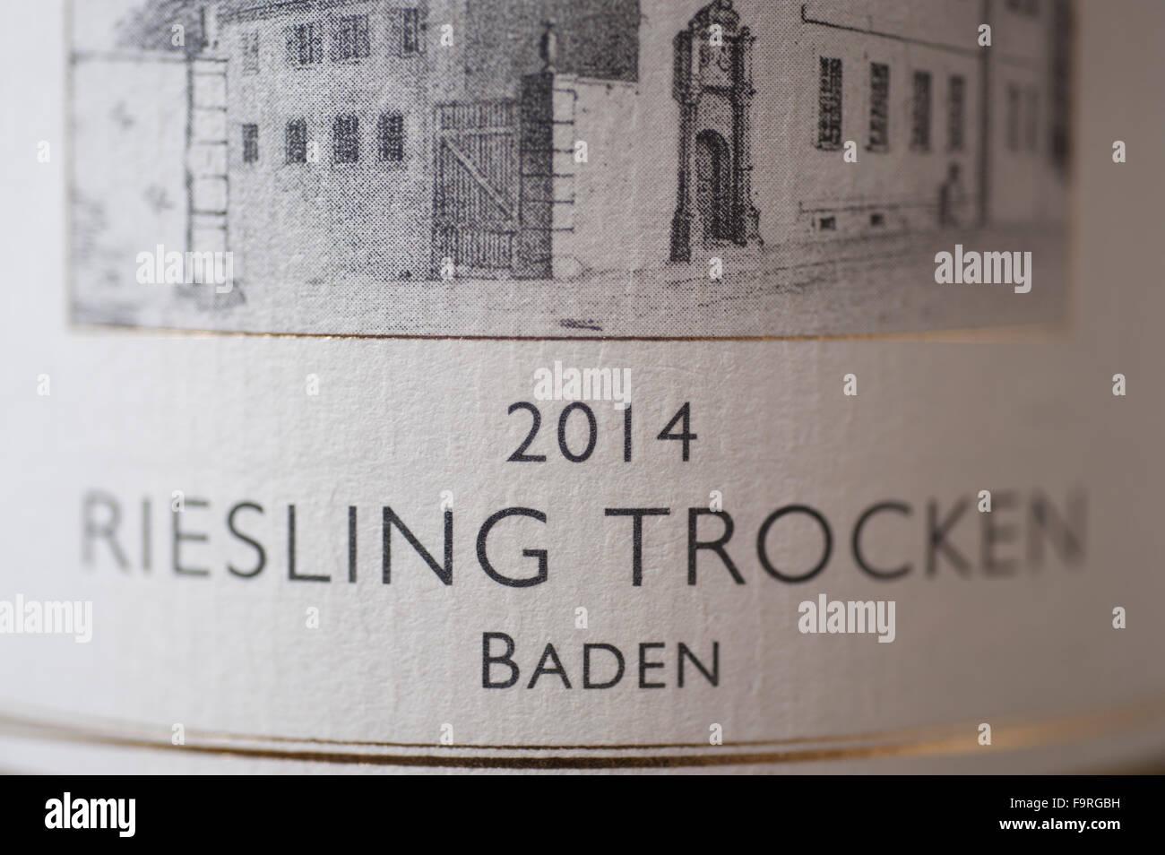 2014 German Riesling wine label Stock Photo