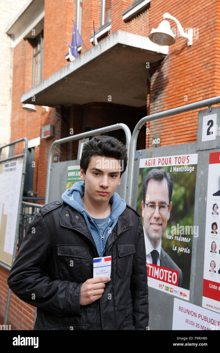 18-year-old Frenchman about to vote for the first time - Stock Image