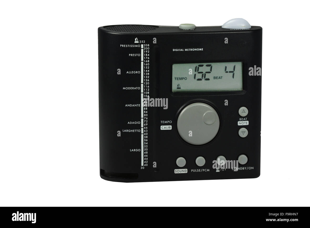 a metronome on a white background - Stock Image