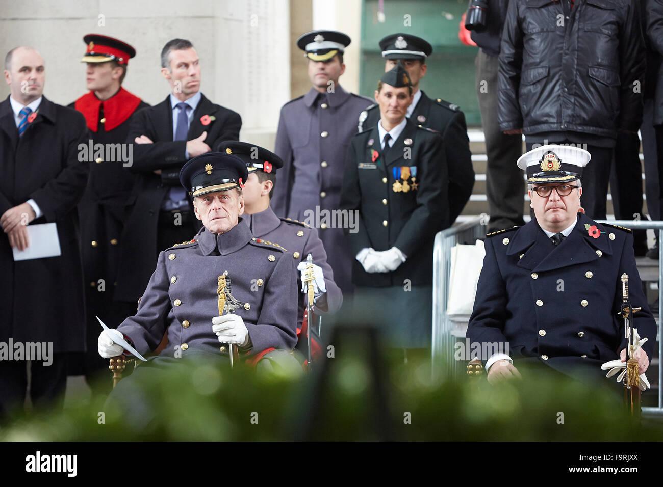 Prince Philip, Duke of Edinburgh, presides over the Armistice Day tribute at Menin Gate, Ypres Stock Photo