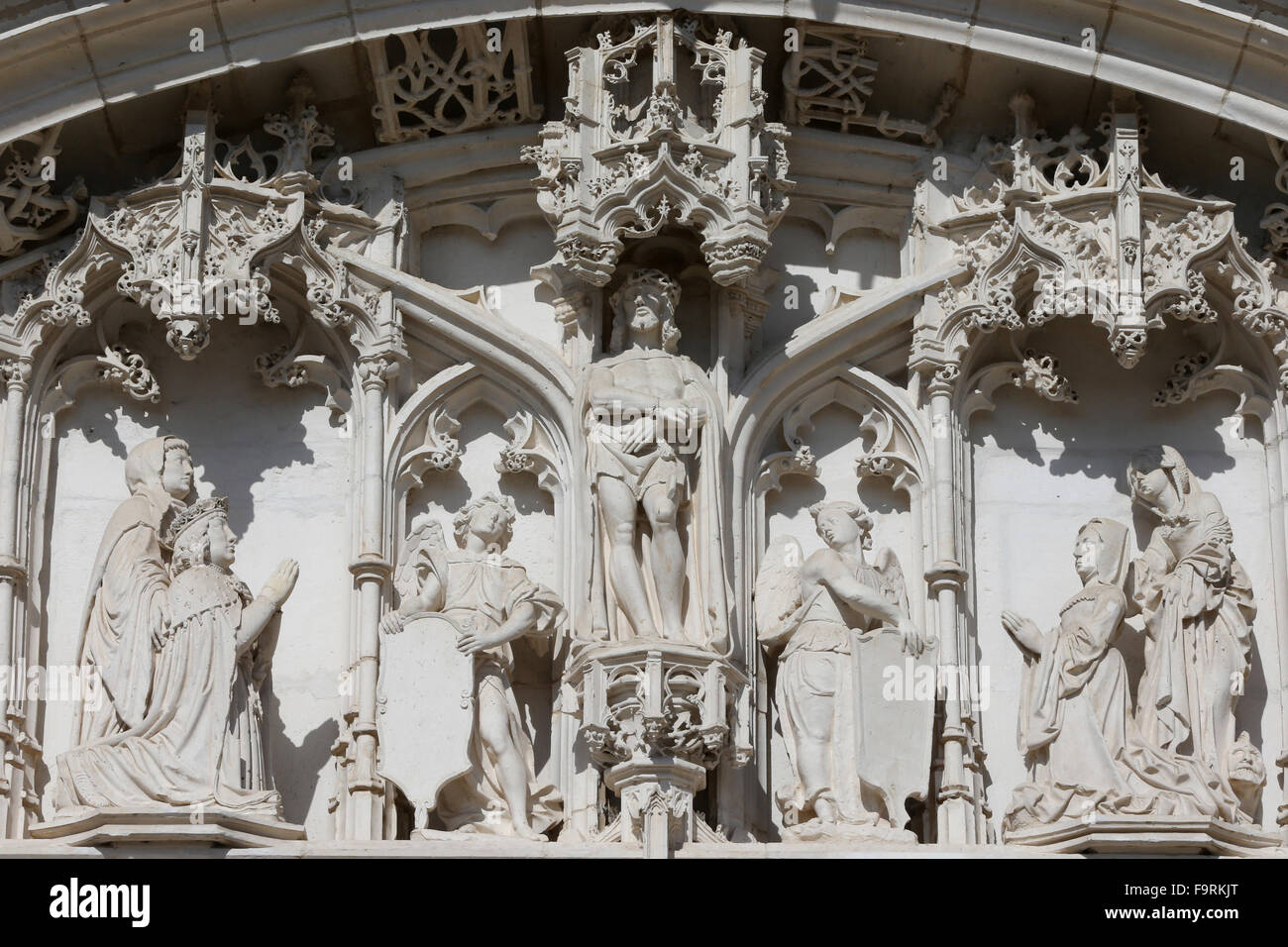 The royal monastery of Brou.  The church is a masterpiece of the Flamboyant Gothic style. Western portal. - Stock Image