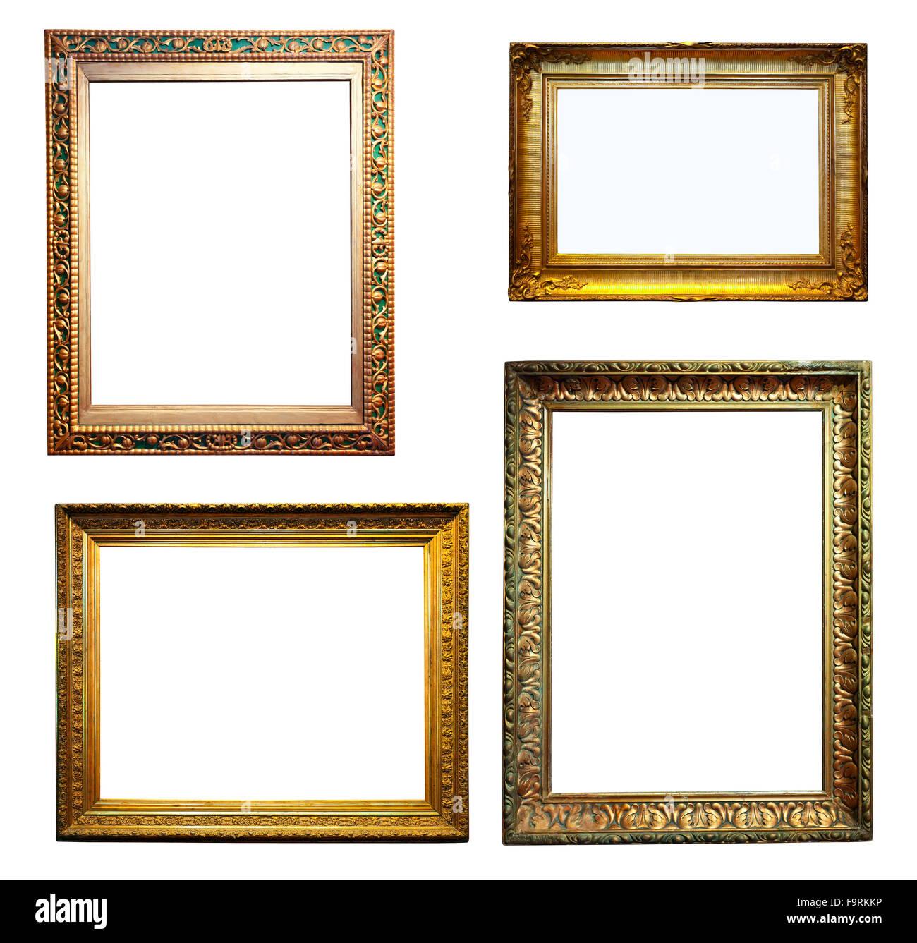 726ca6808bb Set Of Gold Frames Isolated Over White Background With Clipping