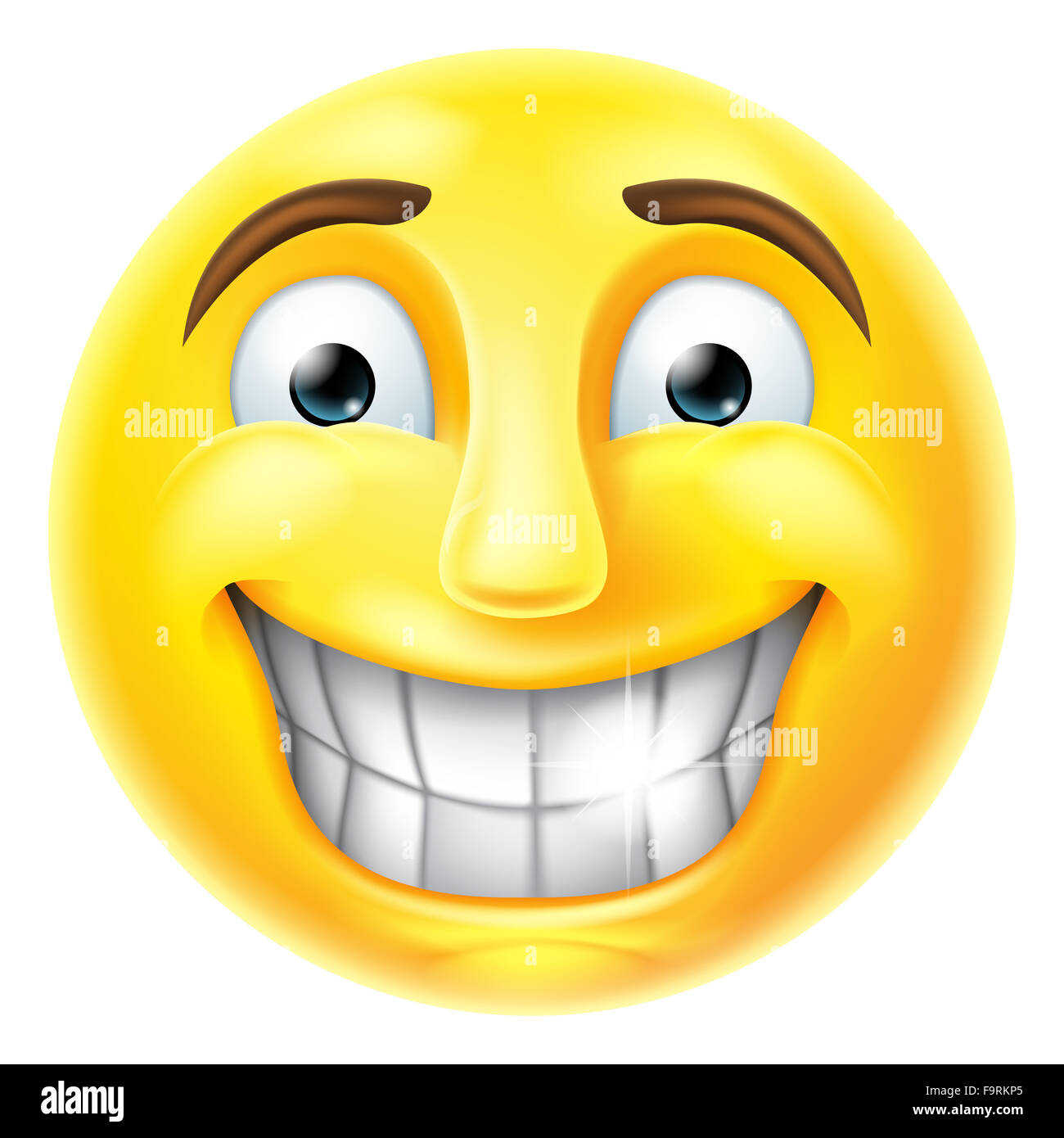 a smiling cartoon emoji emoticon smiley face character stock photo