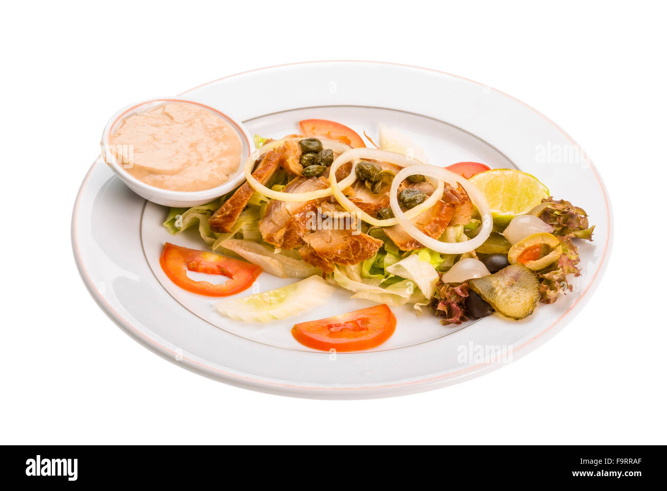Marinated Snapper with vegetable dressing Stock Photo