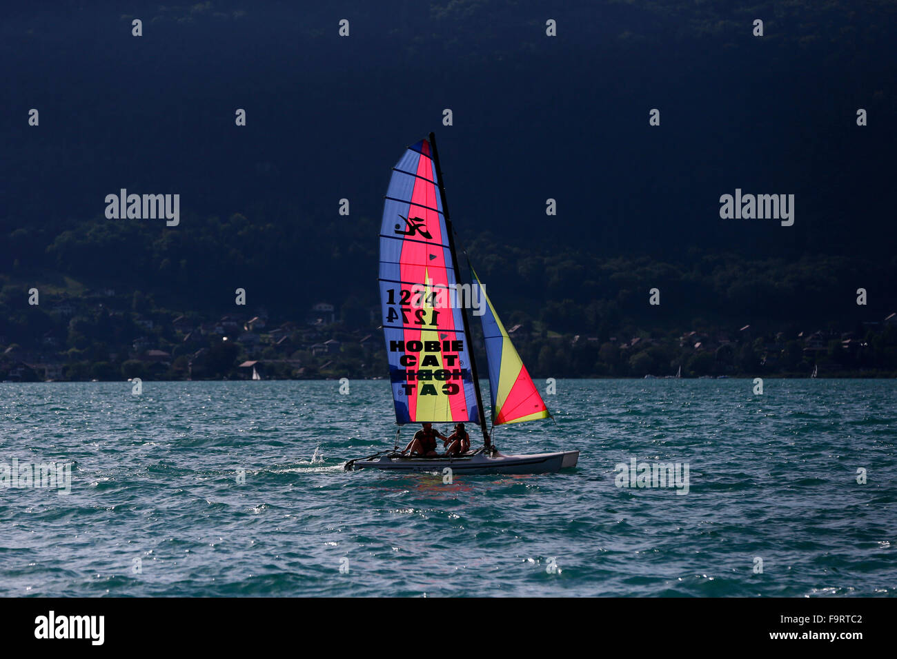 Annecy lake.   Sailing boat. - Stock Image