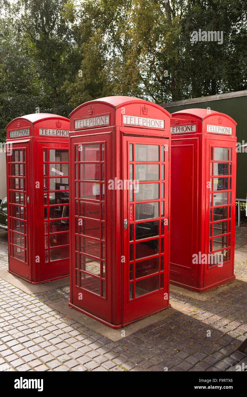 UK, England, Worcestershire, Bromsgrove, Avoncroft Museum, National Telephone Kiosk Collection, four K6 boxes - Stock Image