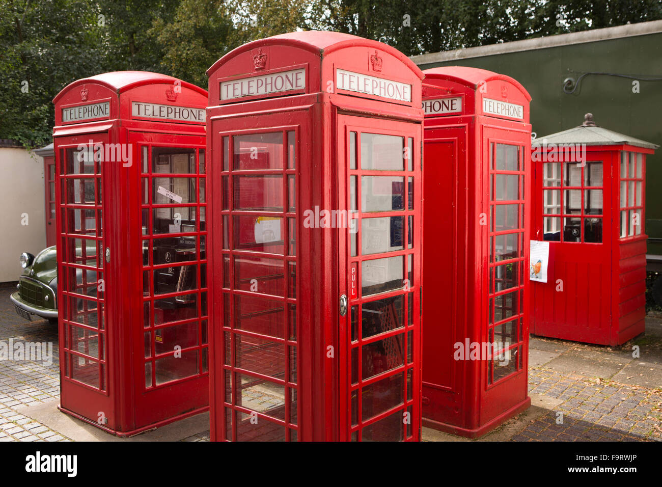 UK, England, Worcestershire, Bromsgrove, Avoncroft Museum, National Telephone Kiosk Collection, K6 boxes, Brintons - Stock Image