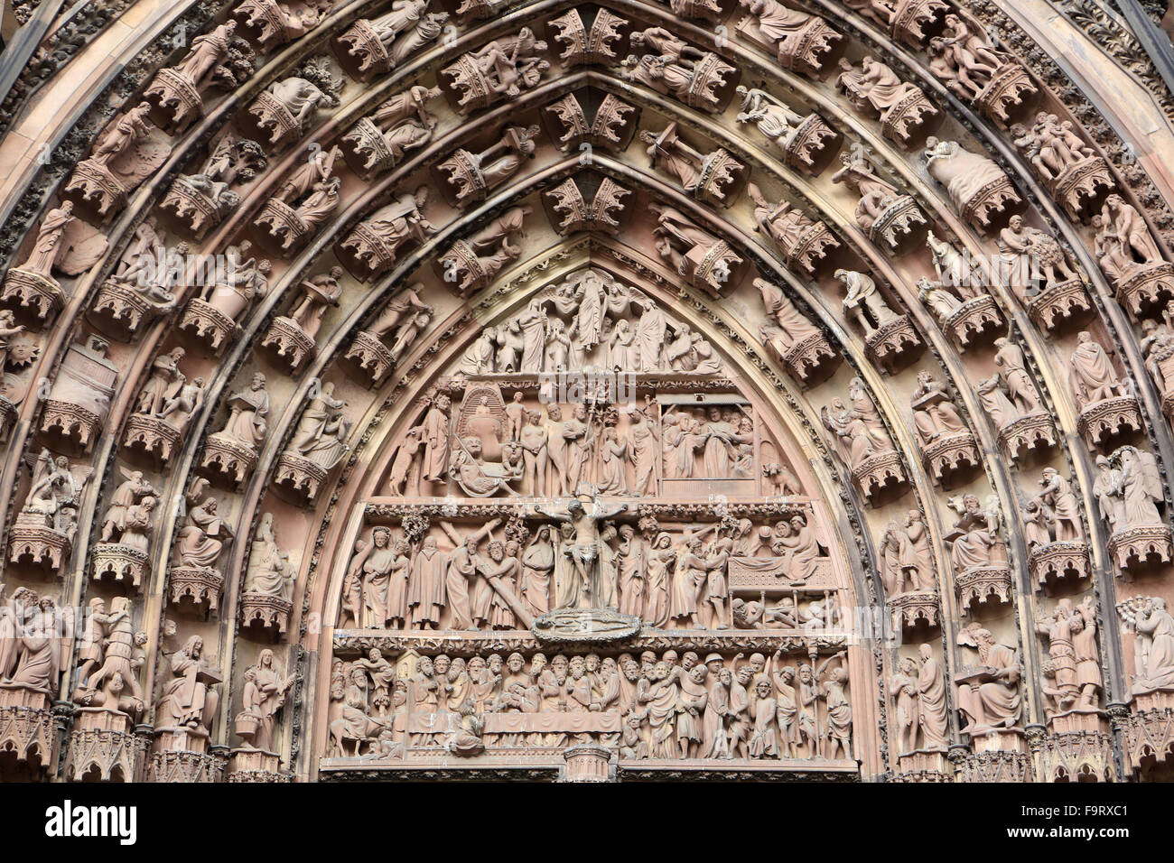 The Passion of the Christ. Tympanum of the central portal. Western faade.1250. Our Lady of Strasbourg Cathedral. - Stock Image